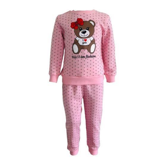 Пижама трикотажная с начесом розовая с мишкой девочкой с 80 по 122 рост