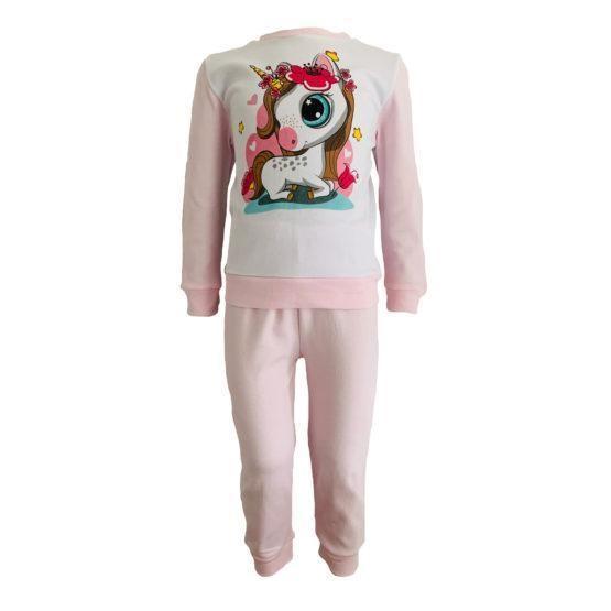 Пижама трикотажная бело-розовая с единорожкой в цветах с 80 по 122 рост