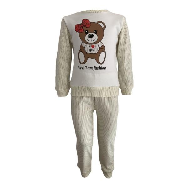 Пижама трикотажная бело-бежевая мишка с красным бантиком с 80 по 122 рост