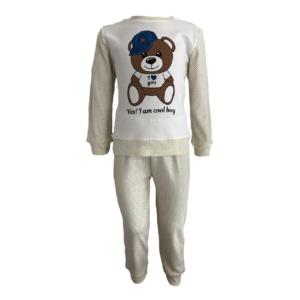 Пижама трикотажная бело-бежевая с мишкой в кепке с 80 по 122 рост