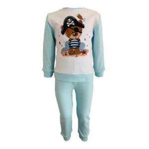 Пижама трикотажная бело-голубая с мишкой пиратом с 80 по 122 рост