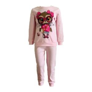 Пижама трикотажная розовая с совой с 80 по 122 рост