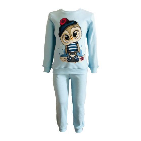 Пижама трикотажная голубая с совой с 80 по 122 рост
