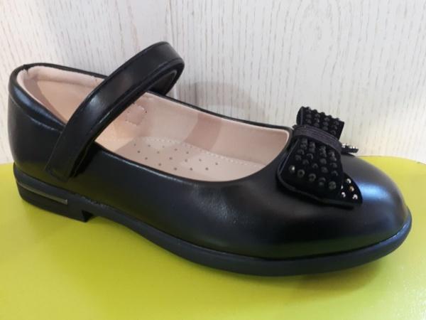 Туфли черные с бантиком и стразами Сказка 29 - 33