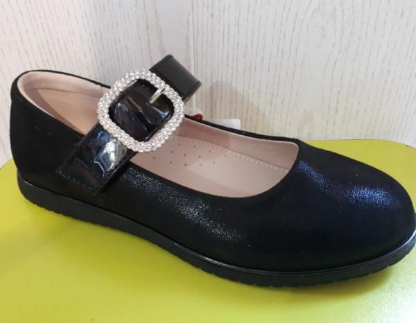Туфли черные из нубука с бляшкой из страз Сказка 29 - 33