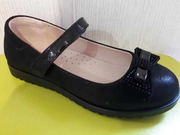 Туфли черные из нубука с бантиком и стразами Сказка 29 - 33