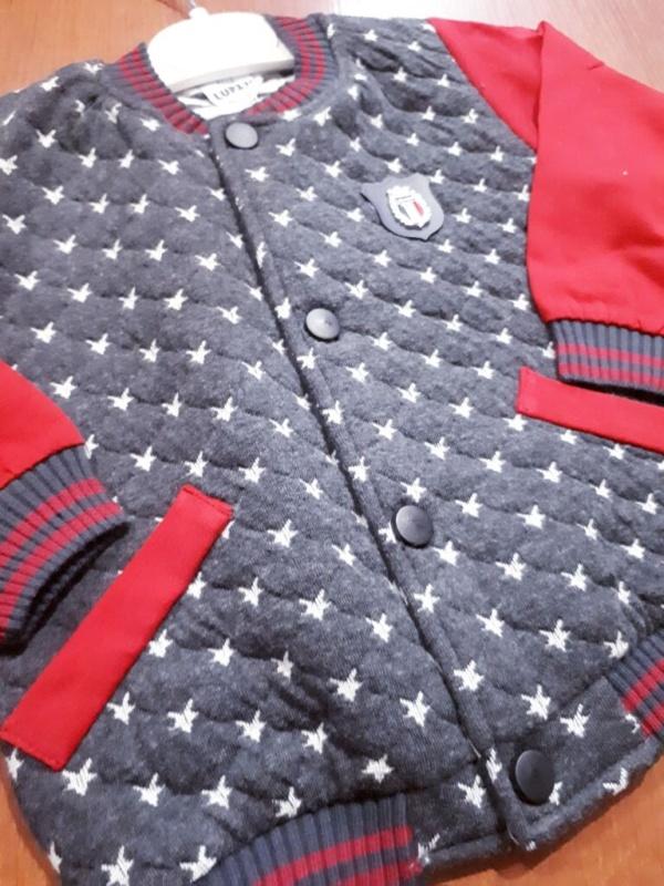 Бомбер на кнопках серо-красный для мальчиков 1-3 года