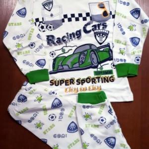 Пижама трикотажная бело-зеленая с машинкой на 4, 5, 6 лет