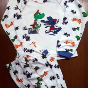 Пижама трикотажная белая с крокодилами на 4, 5, 6 лет