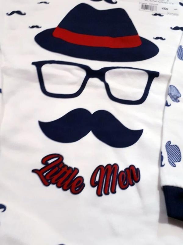 Пижама трикотажная бело-синяя с усами, шляпой и очками на 4, 5, 6 лет
