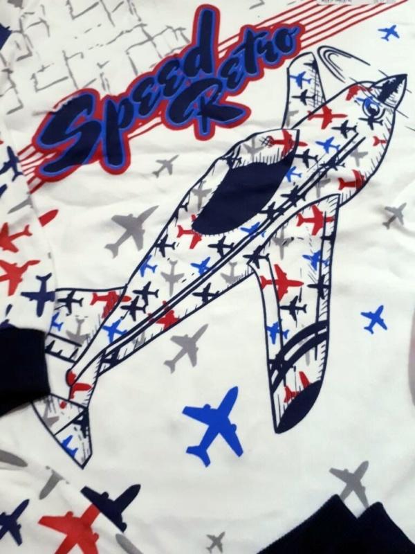 Пижама трикотажная белая с самолетами на 7, 8, 9 лет