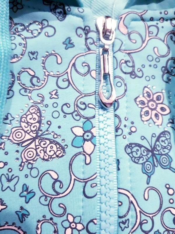 Костюм для девочек ментол-синий бабочки, цветочки, стразы от 3 до 7 лет