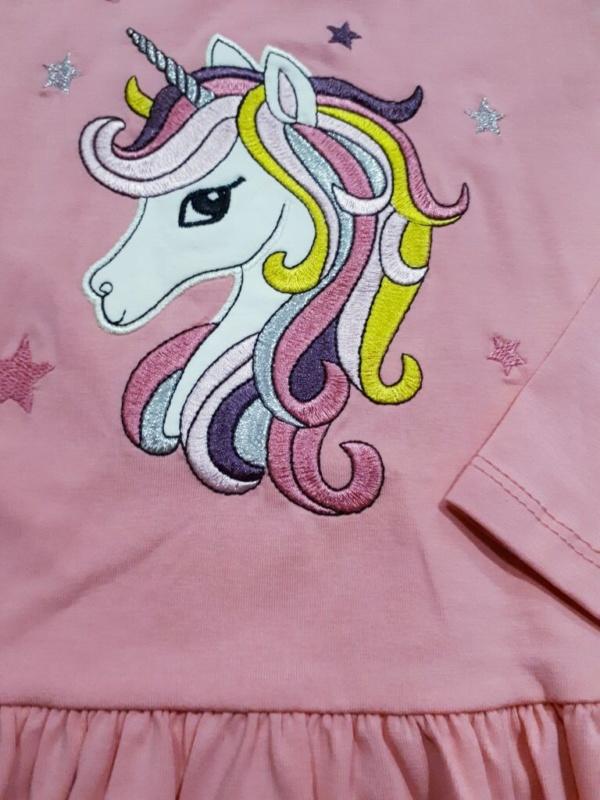 Платье трикотажное хлопковое розовое с единорогом 98-128