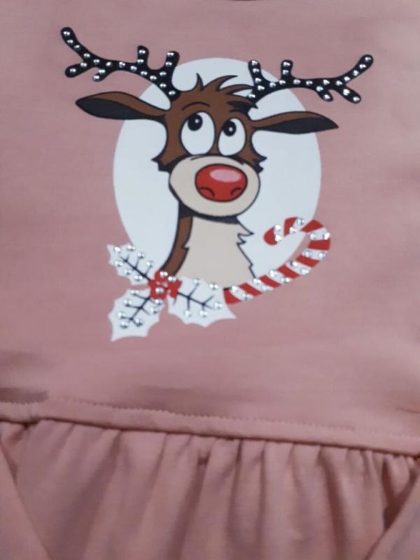 Платье трикотажное хлопковое цвета пудры с оленем 110-128