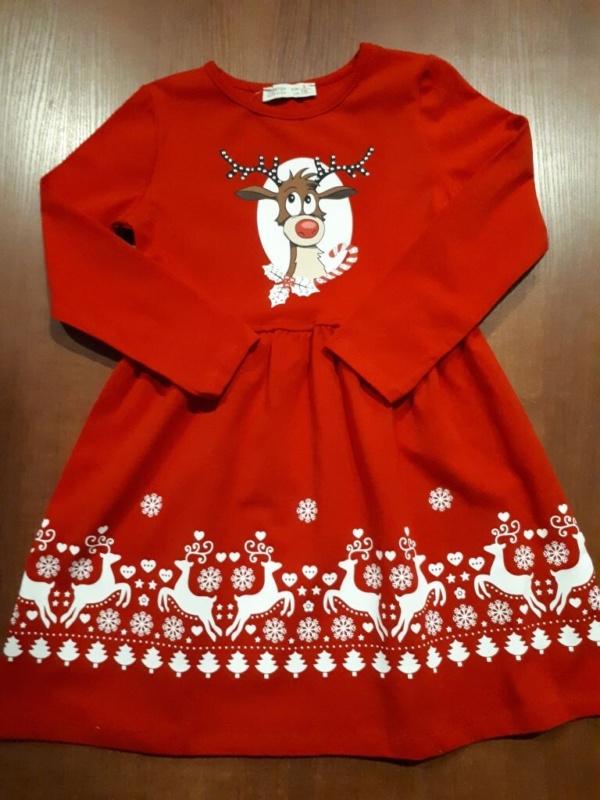 Платье трикотажное хлопковое красное с оленем 110-128