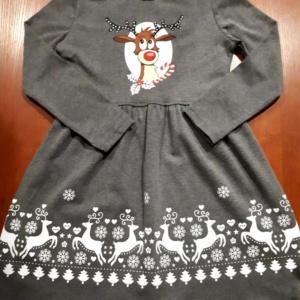 Платье трикотажное хлопковое серое с оленем 110-128