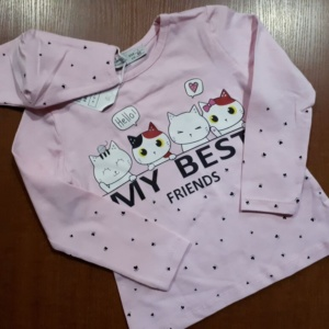 Свитшот трикотажный розовый с котятами и маска двухслойная детская от 1 года до 4 лет