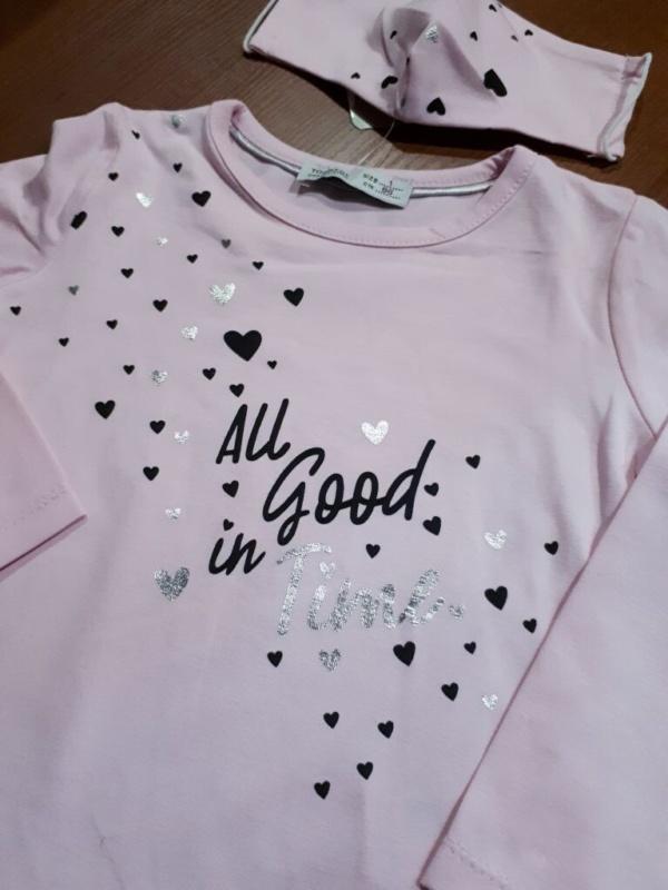 Свитшот трикотажный розовый с серебристыми сердечками и маска двухслойная детская от 1 года до 4 лет