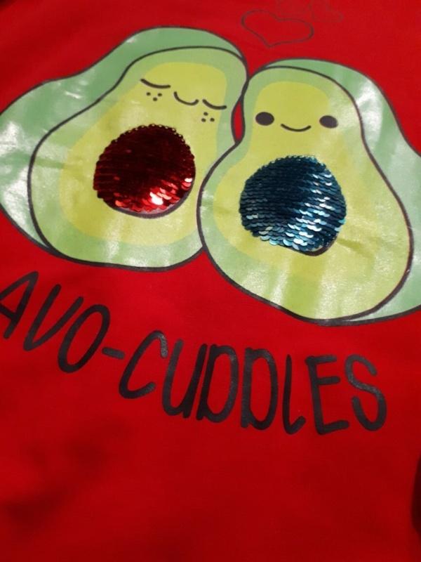 Свитшот трикотажный красный с авокадо с 10 до 14 лет