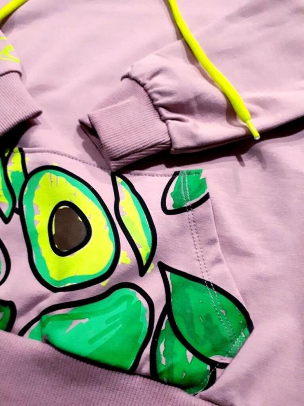 Свитшот- худи трикотажный с капюшоном, карманом и маской-снудом с 8 до 12 лет
