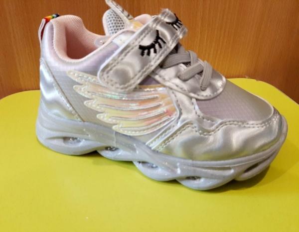 Кроссовки светящиеся с единорогом цвета серебра 26 - 31